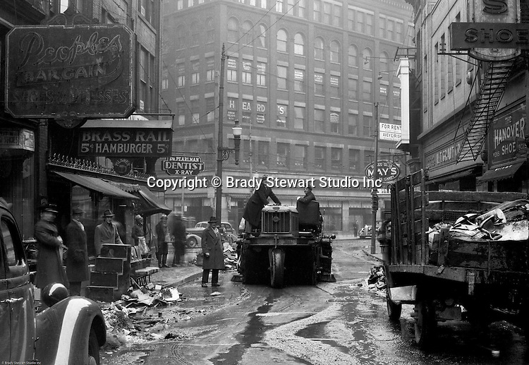 Pittsburgh PA:  View down Market Street toward Liberty Avenue after the Flood.  About 100,000 buildings were destroyed and the damage was estimated at about $250 million. Sixty-five percent of the downtown business district had been underwater from the Point all the way up to Grant Street.