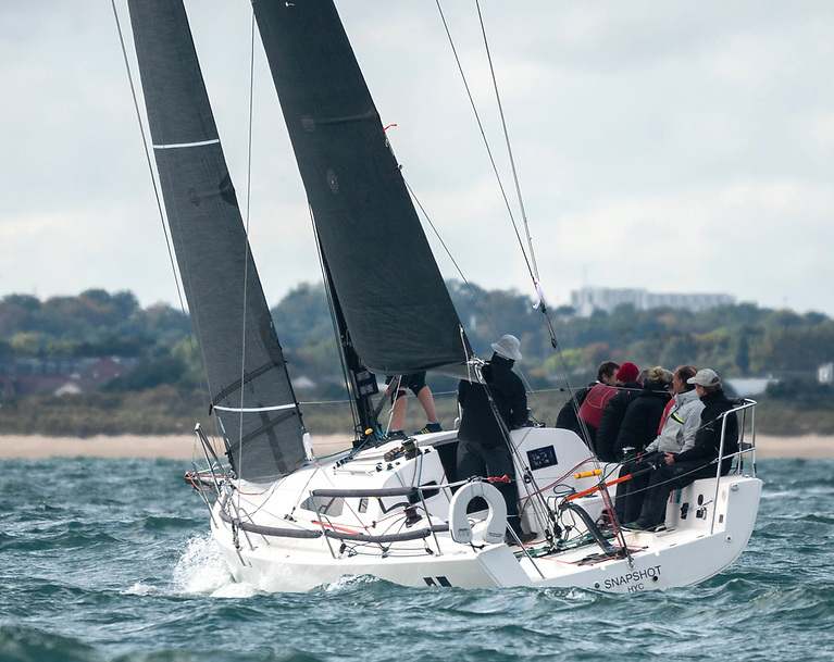 The J/99 Snapshot (Mike & Richie Evans) took over the race lead in IRC 1. Photo: Annraoi Baney
