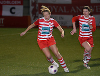 20140221 - OOSTAKKER , BELGIUM : Antwerp Sophie Mannaert (l) pictured during the soccer match between the women teams of AA Gent Ladies  and RAFC Antwerp Ladies , on the 19th matchday of the BeNeleague competition Friday 21 February 2014 in Oostakker. PHOTO DAVID CATRY