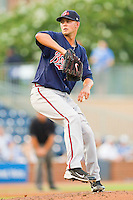 Gwinnett Braves starting pitcher Mike Minor #36 in action against the Durham Bulls at Durham Bulls Athletic Park on July 27, 2011 in Durham, North Carolina.  The Bulls defeated the Braves 4-0.   (Brian Westerholt / Four Seam Images)