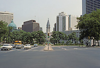Philadelphia: Benjamin Franklin Parkway--looking to City Hall from Logan Circle. Begun 1917. Inspired by Champs Elyssee. Jacques Greber. Photo '85.