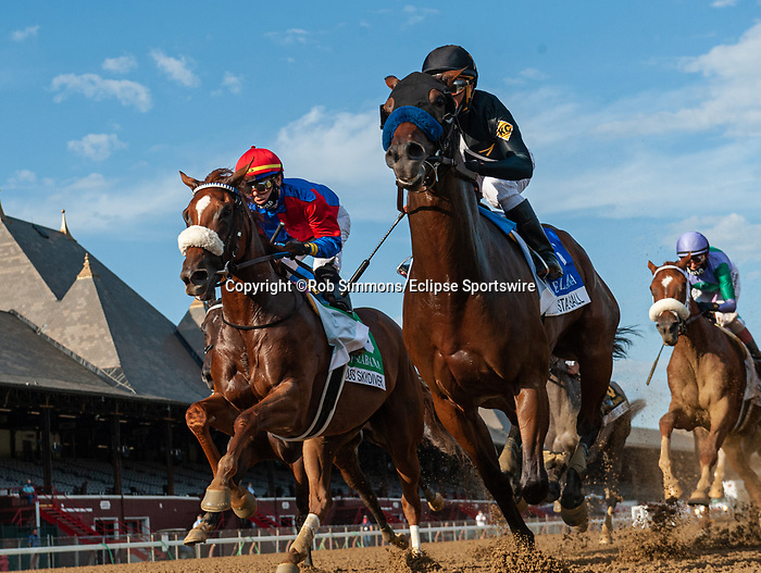 August 15, 2020:  Swiss Skydiver #5 ridden by Tyler Gaffalione trained by Kenneth G. McPeek wins the Alabama Stakes (gr1) at Saratoga Race Course in Saratoga Springs, New York. Rob Simmons/CSM
