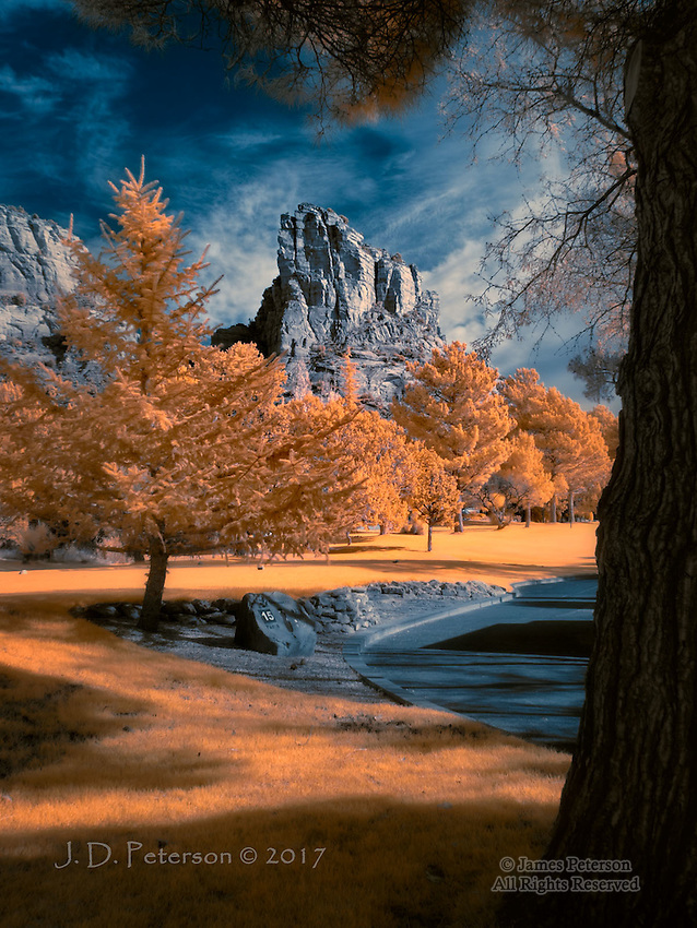Castle Rock, Sedona, Arizona (Infrared) ©2017 James D Peterson.  This is the tenth tee on the golf course near my home.  Not a bad spot for golf, eh?