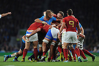Pascal Papé of France tussles with Joshua Furno of Italy in a maul during Match 5 of the Rugby World Cup 2015 between France and Italy - 19/09/2015 - Twickenham Stadium, London <br /> Mandatory Credit: Rob Munro/Stewart Communications