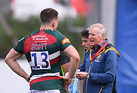 29th May 2021; Sixways Stadium, Worcester, Worcestershire, England; Premiership Rugby, Worcester Warriors versus Leicester Tigers; Alan Solomons Director of Rugby for Worcester Warriors talks with Matt Scott of Leicester Tigers after the match