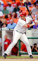 12 June 2006: Brian Schneider, catcher for the Washington Nationals, stands at bat against the Colorado Rockies at RFK Stadium, in Washington, DC. The Nationals fell to the Rockies 4-3 in the first game of the four game series...Mandatory Photo Credit: Ed Wolfstein Photo..