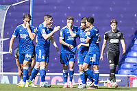 Team mates congratulate goalscorer Gwion Edwards of Ipswich Town during Ipswich Town vs Wigan Athletic, Sky Bet EFL League 1 Football at Portman Road on 13th September 2020