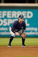 Tampa Tarpons third baseman Benjamin Cowles (28) during Game Two of the Low-A Southeast Championship Series against the Bradenton Marauders on September 22, 2021 at LECOM Park in Bradenton, Florida.  (Mike Janes/Four Seam Images)