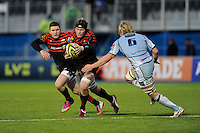 20130127 Copyright onEdition 2013©.Free for editorial use image, please credit: onEdition..Tom Jubb of Saracens looks to go round Luke Hamilton of Cardiff Blues during the LV= Cup match between Saracens and Cardiff Blues at Allianz Park on Sunday 27th January 2013 (Photo by Rob Munro)..For press contacts contact: Sam Feasey at brandRapport on M: +44 (0)7717 757114 E: SFeasey@brand-rapport.com..If you require a higher resolution image or you have any other onEdition photographic enquiries, please contact onEdition on 0845 900 2 900 or email info@onEdition.com.This image is copyright onEdition 2013©..This image has been supplied by onEdition and must be credited onEdition. The author is asserting his full Moral rights in relation to the publication of this image. Rights for onward transmission of any image or file is not granted or implied. Changing or deleting Copyright information is illegal as specified in the Copyright, Design and Patents Act 1988. If you are in any way unsure of your right to publish this image please contact onEdition on 0845 900 2 900 or email info@onEdition.com