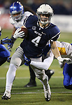 Nevada's Kendall Brock (4) runs up the middle against San Jose State in the first half of an NCAA college football game in Reno, Nev., on Saturday, Nov. 16, 2013.<br /> (AP Photo/ Cathleen Allison).