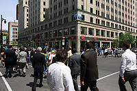 Montreal QC CANADA -  June 8 2009 - Pedestrian walking on Sainte-Catherine Ouest (West) street in downtown Montreal.