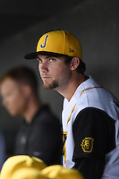 Jacksonville Suns pitcher Trevor Williams (9) in the dugout during game three of the Southern League Championship Series against the Chattanooga Lookouts on September 12, 2014 at Bragan Field in Jacksonville, Florida.  Jacksonville defeated Chattanooga 6-1 to sweep three games to none.  (Mike Janes/Four Seam Images)