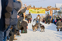 Musher Fred Napoka  on Front Street in Nome for the start of the 2008 All Alaska Sweepstakes 100 year commemorative sled dog race.