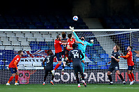 31st October 2020; Kenilworth Road, Luton, Bedfordshire, England; English Football League Championship Football, Luton Town versus Brentford; David Raya of Brentford makes a save high on his goal
