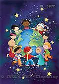 Interlitho, Simonetta, CHRISTMAS CHILDREN, naive, paintings, kids arround globe, KL5872,#XK# Weihnachten, Navidad, illustrations, pinturas