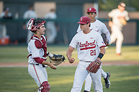 STANFORD, CA - MAY 27: Brendan Beck, Kody Huff during a game between Oregon State University and Stanford Baseball at Sunken Diamond on May 27, 2021 in Stanford, California.
