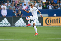 CARSON, CA - JUNE 19: Julian Araujo #2 of the Los Angeles Galaxy traps the ball during a game between Seattle Sounders FC and Los Angeles Galaxy at Dignity Health Sports Park on June 19, 2021 in Carson, California.