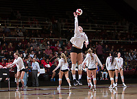 STANFORD, CA - November 15, 2017: Kathryn Plummer at Maples Pavilion. The Stanford Cardinal defeated USC 3-0 to claim the Pac-12 conference title.