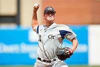 Georgia Tech Yellow Jackets relief pitcher Zane Evans #10 delivers a pitch to the plate against the Miami Hurricanes at the 2012 ACC Baseball Championship at NewBridge Bank Park on May 27, 2012 in Winston-Salem, North Carolina.  The Yellow Jackets defeated the Hurricanes 8-5.  (Brian Westerholt/Four Seam Images)