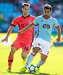 RC Celta de Vigo's Jonny Castro (r) and Real Sociedad's Sergio Canales during La Liga match. August 19,2017. (ALTERPHOTOS/Acero)