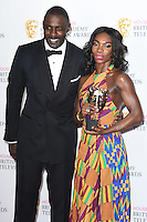 Idris Elba and Michaela Coel<br /> in the winners room at the 2016 BAFTA TV Awards, Royal Festival Hall, London<br /> <br /> <br /> ©Ash Knotek  D3115 8/05/2016