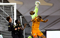 CARSON, CA - OCTOBER 28: Kenneth Vermeer #1 of the Los Angeles FC makes a leaping sale over Darwin Ceren #24 of the Houston Dynamo during a game between Houston Dynamo and Los Angeles FC at Banc of California Stadium on October 28, 2020 in Carson, California.
