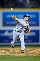 South Bend Cubs relief pitcher Garrett Kelly (37) delivers a pitch to the plate against the Lansing Lugnuts at Cooley Law School Stadium on June 15, 2018 in Lansing, Michigan. The Lugnuts defeated the Cubs 6-4.  (Brian Westerholt/Four Seam Images)