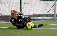Faye Lammertijn goalkeeper of OHL (22) pictured during the warm up before a female soccer game between Oud Heverlee Leuven and Femina White Star Woluwe  on the 5 th matchday of the 2020 - 2021 season of Belgian Womens Super League , Sunday 18 th of October 2020  in Heverlee , Belgium . PHOTO SPORTPIX.BE   SPP   SEVIL OKTEM