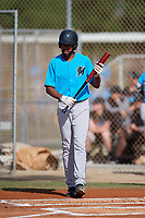 Miami Marlins Lorenzo Hampton during a Minor League Spring Training Intrasquad game on March 28, 2019 at the Roger Dean Stadium Complex in Jupiter, Florida.  (Mike Janes/Four Seam Images)
