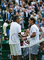 England, London, 28.06.2014. Tennis, Wimbledon, AELTC, Nick Kyrgios (AUS)(L) defeats Rafael Nadal (ESP) <br /> Photo: Tennisimages/Henk Koster