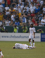 David Beckham lies on the pitch after being tripped.  Beckham made his first appearance as a member of the LA Galaxy during the second half of play.  Chelsea won 1-0 over LA Galaxy on Saturday, July 21, 2007 at the Home Depot Center in Carson, CA.