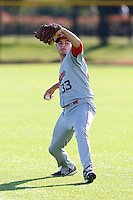 David Ledbetter #33 of the Spokane Indians warms up before pitching against the Hillsboro Hops at Hillsboro Ballpark on July 22, 2013 in Hillsboro Oregon. Spokane defeated Hillsboro, 11-3. (Larry Goren/Four Seam Images)