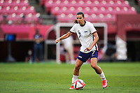 KASHIMA, JAPAN - AUGUST 2: Tobin Heath #7 of the United States controls the ball during a game between Canada and USWNT at Kashima Soccer Stadium on August 2, 2021 in Kashima, Japan.