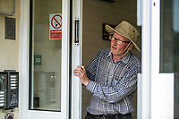 BNPS.co.uk (01202 558833)<br /> Pic: MaxWillcock/BNPS<br /> <br /> Robin Edmonds on the lookout for the 'vindictive' seagull behind his front door.<br /> <br /> A homeowner is at his wits end after being repeatedly attacked by violent seagulls.<br /> <br /> Robin Edmonds was forced to flee for cover from the 'vindictive' bird that dive-bombed him as he left his home.<br /> <br /> The 49-year-old has been left in fear about going outside and has even bought a special hat to protect him.