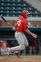 Palm Beach Cardinals first baseman Luke Voit (25) at bat during a game against the Lakeland Flying Tigers on April 16, 2015 at Joker Marchant Stadium in Lakeland, Florida.  Palm Beach defeated Lakeland 7-1.  (Mike Janes/Four Seam Images)