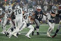 FOXBOROUGH, MA - NOVEMBER 24: Dallas Cowboys Runningback Tony Pollard #20 on the run during a game between Dallas Cowboys and New England Patriots at Gillettes on November 24, 2019 in Foxborough, Massachusetts.