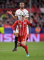 03.04.2018, Football UEFA Champions League 2017/2018,   FC Sevilla - FC Bayern Muenchen, stadium Ramon Sanchez Pizjuan, Sevilla (spain). hi: Steven N Zonzi (FC Sevilla)  -  James Rodriguez (FC Bayern Muenchen). *** Local Caption *** © pixathlon<br /> <br /> Contact: +49-40-22 63 02 60 , info@pixathlon.de