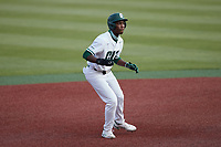 LuJames Groover III (23) of the Charlotte 49ers takes his lead off of second base against the Old Dominion Monarchs at Hayes Stadium on April 23, 2021 in Charlotte, North Carolina. (Brian Westerholt/Four Seam Images)