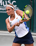April  5, 2017:  Monica Puig (PUR) battles against Daria Kasatkina (RUS),  at the Volvo Car Open being played at Family Circle Tennis Center in Charleston, South Carolina.  ©Leslie Billman/Tennisclix/Cal Sport Media