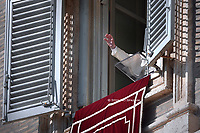 Pope Francis  the Sunday Angelus prayer from the window of the apostolic palace overlooking Saint Peter's Square in The Vatican on October 27, 2019.