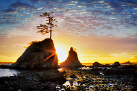 The Three Graces and sunset. Tillamook Bay. Oregon