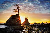 The Three Graces and sunset. Tillamook Bay. Oregon