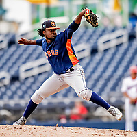 27 February 2019: Houston Astros pitcher Cristian Javier on the mound in pre-season action against the Washington Nationals at the Ballpark of the Palm Beaches in West Palm Beach, Florida. The Nationals defeated the Astros 14-8 in their Spring Training Grapefruit League matchup. Mandatory Credit: Ed Wolfstein Photo *** RAW (NEF) Image File Available ***
