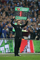 The fourth official shows the board for Kepa Arrizabalaga of Chelsea to be replaced by Willy Caballero of Chelsea during the Carabao Cup Final match between Chelsea and Manchester City at Stamford Bridge on February 24th 2019 in London, England. (Photo by Paul Chesterton/phcimages.com)<br /> Foto PHC Images / Insidefoto <br /> ITALY ONLY