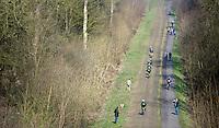Team Cannondale-Garmin riding the rough cobbles of the Bois de Wallers-Arenberg sector<br /> <br /> 2015 Paris-Roubaix recon