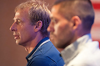 New York, NY - Friday, May 30, 2014: Players of the USMNT meet with the press for media day at the Marriott Marquis in Times Square.