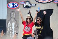 May 1, 2011; Baytown, TX, USA: NHRA pro stock motorcycle rider Angie Smith (left) and Karen Stoffer during the Spring Nationals at Royal Purple Raceway. Mandatory Credit: Mark J. Rebilas-