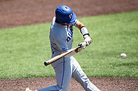 Duke Blue Devils shortstop Ethan Murray (1) at bat against the Wright State Raiders in NCAA Regional play on Robert M. Lindsay Field at Lindsey Nelson Stadium on June 5, 2021, in Knoxville, Tennessee. (Danny Parker/Four Seam Images)