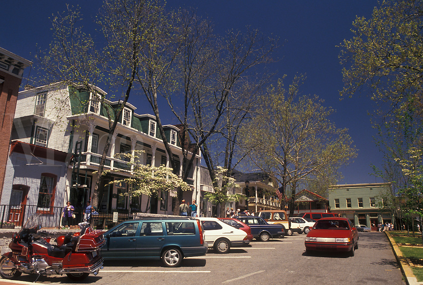 Dahlonega, Georgia, GA, Gifts shops on the Public Square in Dahlonega in the spring.