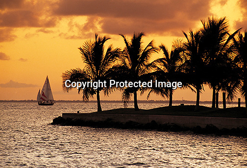 Sailing in Biscayne Bay at sunset